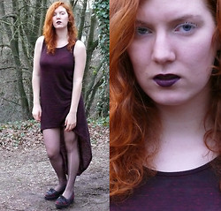 Imme Geelen - River Island Creepers, Mac Cyber Purple Lipstick, Henna Hairdye, White Mascara, H&M Dress - Cold and hazy purple