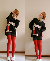 I L L Y - Grandma's Sweater, H&M Printed Mini Skirt, Whatever Red Tights, Department Stores White Mocassins - MONDRIAN HOLIDAYS