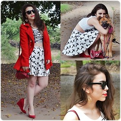 Hildeliza Martinez - Sammydress Red Coat, Nine West Red Purse/Clutch, Mada Red Wedges, Bershka Crop Top, Rolling Life Wear Cross Skirt, Nice Earrgins, Chow Dog My Penny, Shades - Meet Penny!