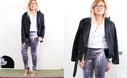 Bernadette Le - Urban Outfitters Moto Jacket, Sway Button Up Shirt, Sequin Legging, Heels - Sequin Legging