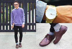 Miko Carreon - Topman Pullover, Topman Pants, World Balance Shoes, Calvin Klein Watch - Radiant Orchid