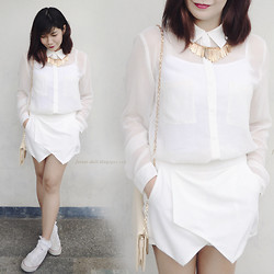 Marion Uy - Zara White Skort, Converse White Sneakers, Forever 21 Sheer Button Down - Happy new year ヾ(^∇^)