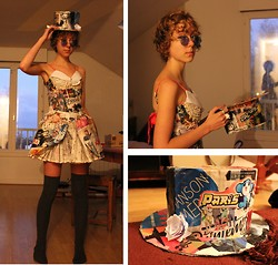 Sofia R - High Socks, Diy Paper Dress, Diy Paper Hat, Vintage Blue Glasses - Paper Girl