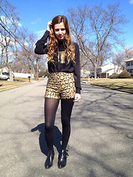 Austen Tosone - Prabal Gurung Black Top, Forever 21 Brocade Shorts, Jeffery Campbell Everly Cutouts - Ready for 2014