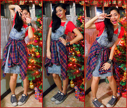 Nadine Julian - Converse Shoelace Less Chucks, Myx Red Shirt, Vintage Overalls - Old School New Year's Eve