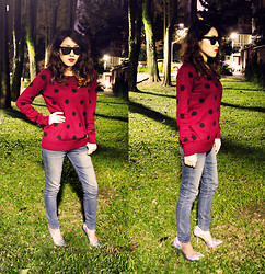 Reina (Ree) - Matty M Polka Dot Red Sweater, Forever 21 Pointed Hologram Pumps - Polka Dot girl in the woods