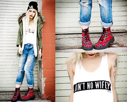 Madeline Pendleton - Dimepiece Tank Top, T.U.K. Boots, Gypsy Warrior Jeans, Chic Wish Parka, Pacsun Hat - Plaid