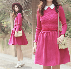 Mayo Wo - Chic Wish Magenta Knit Dress, Valentino Rockstud Purse, Valentino Lucite Wedges - HNY!