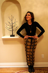 Raquel J - Wildfred Crop Top, Lush Patterned Pants, Urban Outfitters Triangular Necklace, Urban Outfitters Black Military Boots - Twenty Fourteen