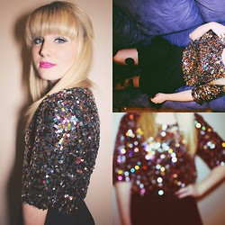 Whitney Paige - Urban Outfitters Sequin Top, Urban Outfitters Black Skirt, Kate Spade Polka Dot Typed - Happy New Year!