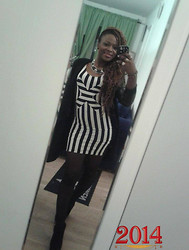 Chioma Banks - H&M Black & White Stripe Dress, Kapphal Leather Sleeves Cardigan, Nelly Black Wedge, Gina Tricot Colar Bone Necklace - HELLO 2014!..IT'S NICE TO EVENTUALLY MEET YOU.