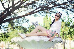 Dee C - Diy Floral Crown, Divi Circle Glasses, Thrifted Lace Top, Thrifted Floral Printed Tropical Shorts, Thrifted White Shoes, Braided Hair - Fountain head