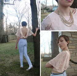 Katherine B - Urban Outfitters Backless Winged Crop Top, H&M Baby Blue High Waist Skinny Jeans, H&M Gold Necklace - Berries + creme