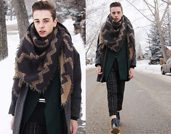 Paul Conrad Schneider - Wilfred Scarf, American Apparel Petite Long Wool Coat, Zar Blazer, Zara Black Sweater, Zara Silk Button Up, Topshop Tartan Pants, Zara Boots - Au Revoir 2013