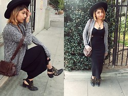 Yessenia L. - Urban Outfitters Cutout Maxi Dress, Forever 21 Open Shawl Cardigan, Forever 21 Brown Flap Purse, Jeffrey Campbell Tripoli Boots, Nasty Gal Madrid Hat - Let's start 2014 right