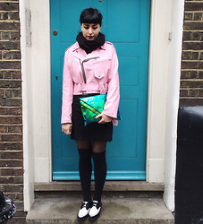 M . - Pink Biker Jacket, Creepers, Hologram Bag - Near Carnaby.