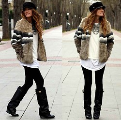 Rebel Attitude - Pull & Bear Coat, Choies Boots, Primark Cap - Fur