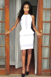 Toni Khumalo - Aldo Black Heels, White Skirt, White Peplum Top - U R The Closest To Heaven That I've Ever Been !