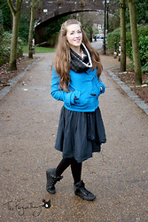 Claire Raywood - Handmade Infinity Scarf, H&M Blue Duffle Coat, Tk Maxx Wrap Skirt, Primark Fluffy Boots - Bright Blue Coat