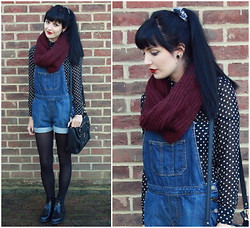 Kayleigh B - Heart Blouse, Topshop Dungarees, Dr. Martens Kensington Chelsea Boot - The Heartless