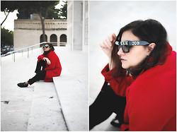Flaviana B. - Asos Coat, Underground Creepers, Prada Sunglasses - RED COAT