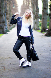 Joanne Christina Lewis - French Connection Uk Leather Jacket, Asos White Cami, Zara Leather Joggers, Nike Jordans - AIR JORDAN RETRO 12