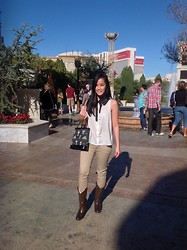 Vadrea Candrika - Nine West Brown Boots, Forever 21 Beaded Blouse, Zara Khaki Skinny Pants, Lulu Guinness Drinks Choices Handbag - A Day in Vegas