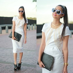 Aqeelah Harron - Dolce & Gabbana Sunglasses, Forever 21 Hair Clip, Riva Lariat Choker, Sorayah Harron Dress, Zara Clutch, Casio Watch, Topshop Shoes - White Noise