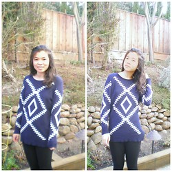 Mabel S - Martofchina Navy Blue Tribal Print Sweater, Leggings - Happy 2014! :)