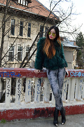 Cassandra Y. Liu - Guess? Faux Fur Coats, Zara Python Trouser - The Faux Fur (GIVEAWAY on the blog now!)