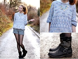 Rosa M. - Vintage Sweater, Urban Outfitters Shorts, Amazon.De Boots, Primark Statement Kette - Shorts are the new pants
