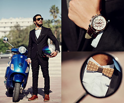 Mohcine Aoki - Persol, Asos, Doublju, Gq, Selected Homme, Bewooden Lynx, Gc Watches - Suit & The Moto