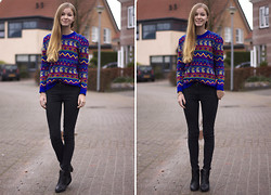 Janne B - Choies Vintage Knit Jumper Geometric Print - Colorful sweater