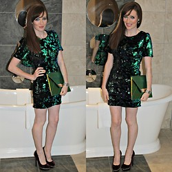 Rebecca Casserly - Topshop Sequin And Velvet Dress, River Island Iridescent Clutch Bag, Schuh Burgundy Velvet We Are Young Heels - Christmas Sparkle