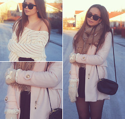 Josefin Rudälv - Martofchina Pink Coat, Diy Knitted Gloves, Bikbok Knitted Sweater, H&M Bag - PINK IS THE RIGHT COLOR