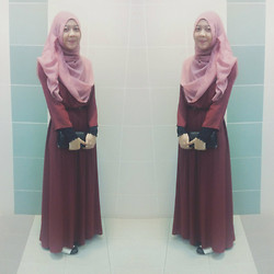 Artz Jonathan - Maxi Hijab, Thepoplook Maxi Chiffon Dress, Forever 21 Clutch - Eventful Night