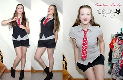 Claire Raywood - Handmade Reindeer Tie, Striped Shirt, Black Shorts, New Look Pixie Boots - Ties Aren't Just For Guys - Part 1
