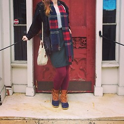 E.B. Berger - Vintage Wool Wrap Skirt, Khole's Chiffon Swiss Dot Blouse, Plaid Scarf, Goodwill Silk Coat, Wal Mart Fleece Lined Tights, Factor Five Vintage Embroidered Hemp Purse, L.L. Bean Duck Boots - The Fill with Fire, Exhale Desire