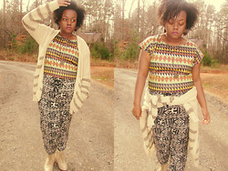 Yakelle D - Rainbows Cardigan, Rainbows Geo Crop Top, Rainbows Jogger Tie Pants - For The People Who Never Go Crazy