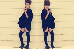 Sarah Jay - Bb Dakota Black Poncho Jacket, Widow Black Garter Cut Out Leggings - Black on Black on Black