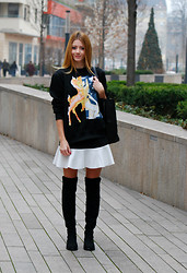 Vivienn Nagy - Jessica Buurman Sweatshirt, Frontrowshop Skirt, Wholesale7 High Knee Boots - Grinning :)