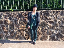 Brenton Nakamura - Forever 21 Beanie, Second Hand Blazer, Necklace, American Apparel Tee, Forever 21 Clutch, Forever 21 Slacks, Topshop Sandals - Shades Of Green