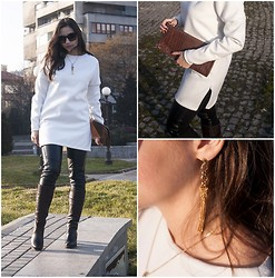Dalia Fashion - Fh2t Project Dress, Zara Biker Leggings, Franco Ferucci Jewelry - Cashmere Softness