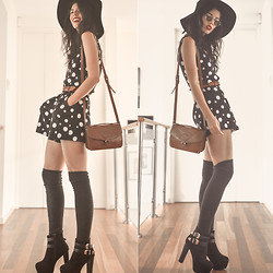 Elle-May Leckenby - Polka Sot Romper From The 80s, Black Shade Buckle Boots, Tabbi Socks Thigh High Dark Grey - Dot dot dot