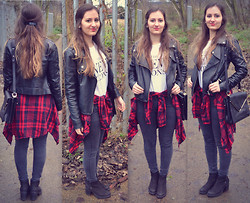 Bianca . - H&M Tshirt, Zara Plaid Shirt, Mims Leather Jacket, Urban Outfitters Boots - Plaid shirt and leather