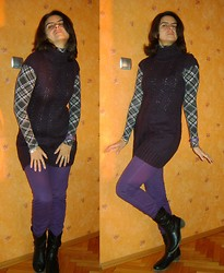 Vassy M. - Gift From A Friend Turtleneck, Denim Purple Skinnies, Terranova Purple Knitted Dress Worn As A Tunic, Avon Eternal Love Purple Watch - Purple poses