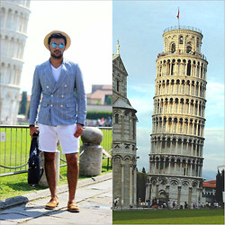 Kubilay Sakarya - Zerouv Mirror Sunglasses, Zara Jacket, Mudo Short, Kurt Geiger - Throwback Summer - Tower Of Pisa...