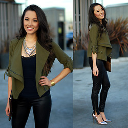 Jessica R. - Shop Sosie Olive Jacket, Express Necklace, Pacsun Pleather Leggings - Olive My Jacket
