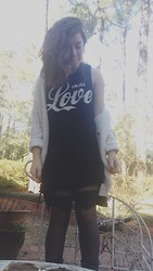 Chloe Ruth - Forever 21 Enjoy Love Dress, Urban Outfitters Tights, Urban Outfitters Knit Cardigan - Standing in the Way of Control