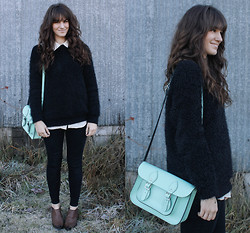 Tonya S. - Urban Outfitters Cozy Popcorn Sweater, Mint Satchel, Boots - Wide Awake